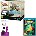 Black Wii U Premium with The Legend of Zelda: The Wind Waker HD, GAMEware Starter Pack and Rayman Legends