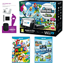 Black Wii U Mario and Luigi Premium Pack with GAMEware Starter Pack, Sports Connection and Super Mario 3D World