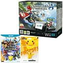 Black Wii U Premium with Mario Kart 8, Super Smash Bros and Pikachu amiibo