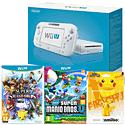 White Wii U Basic with New Super Mario Bros U, Super Smash Bros and Pikachu amiibo