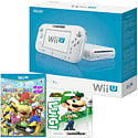 White Wii U Basic with Mario Party 10 and Classic Collection Luigi amiibo