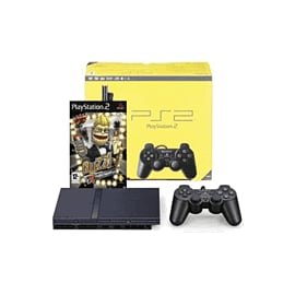 Black Sony Slimline PlayStation 2 Console with Buzz! The Hollywood Quiz PlayStation 2