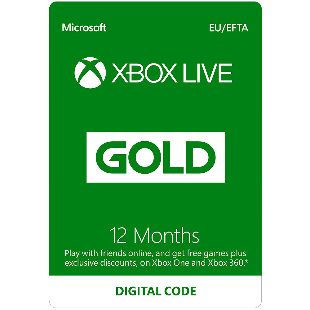 microsoft 12 months xbox live code