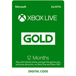 Xbox Live 12 Month Gold Membership Xbox Live Cover Art