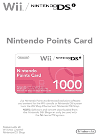 Nintendo Points Card for Wii and DSi - 1000 Points Accessories