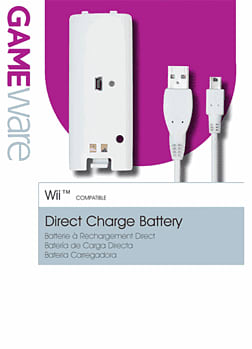 GAMEware White Rechargeable Battery Pack for Wii Accessories