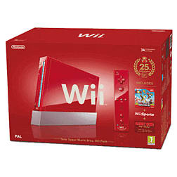 Special Edition Red Wii with New Super Mario Bros Wii Pack Wii