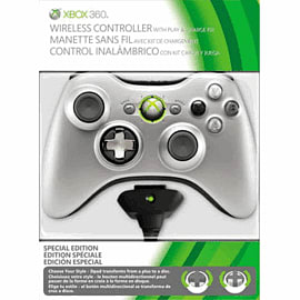 Xbox 360 Silver Controller and Play and Charge Kit Accessories