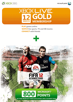 FIFA Xbox 360 Live 12 month Gold Membership Card plus 800 Points Free Accessories