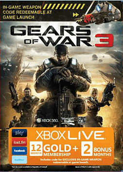 Gears of War 3 Xbox 360 Live 12 Month Gold Subscription Card Accessories 