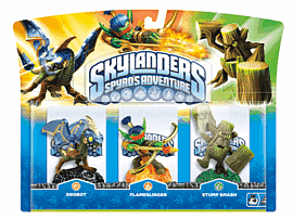 Skylanders: Triple Character Pack with Drobot, Stump Smash and Flameslinger Toys and Gadgets