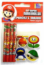 Mario Mini Pencils and Erasers Toys and Gadgets 