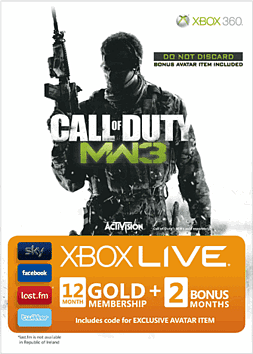 Call of Duty: Modern Warfare 3 Xbox Live 12 Month Gold Membership Card plus 2 Months Free and Avatar Download Accessories
