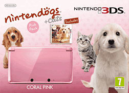Nintendo 3DS Coral Pink with Nintendogs + Cats Golden Retriever 3DS