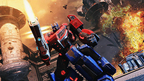 Optimus Prime shoots in Cybertron or G1 mode in Transformers Fall of Cybertron at GAME