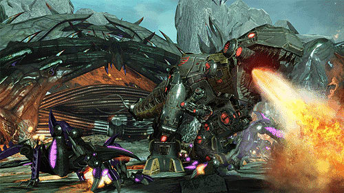 DinoBots attack in TransFormers Fall of Cybertron on PS3 and xbox 360 at GAME
