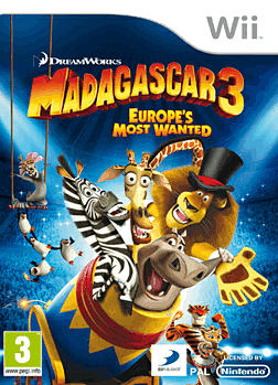 Madagascar 3: Europe's Most Wanted Wii Cover Art