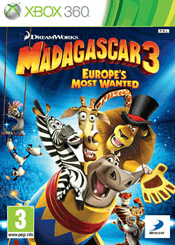 Madagascar 3: Europe's Most Wanted Xbox 360 Cover Art
