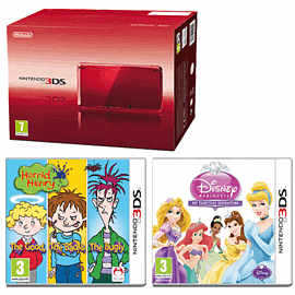 Nintendo 3DS Metallic Red with Disney Princess: My Fairytale Adventure and Horrid Henry: The Good, The Bad and The Bugly 3DS