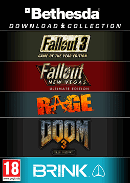 Bethesda Bundle - Fallout 3 GOTY, Fallout New Vegas Ultimate Edition, Rage, Doom 3 BFG Edition and Brink Complete PC Games Cover Art