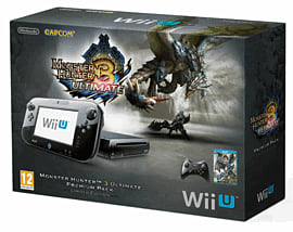Black Wii U Premium Console with Monster Hunter 3 Ultimate Wii U