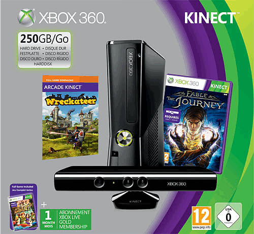 Xbox 360 250GB with Kinect, Kinect Adventures, Wreckateer and Fable: The  Journey
