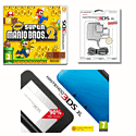 Nintendo 3DS XL Blue with New Super Mario Bros 2 and 3DS XL Adaptor 3DS