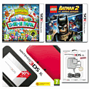 Nintendo 3DS XL Red/ Black With Moshi Monsters: Moshlings Theme Park, LEGO Batman 2: DC Super Heroes And 3DS XL AC Adaptor 3DS