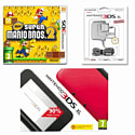 Nintendo 3DS XL Red with New Super Mario Bros 2 and 3DS XL Power Adaptor 3DS