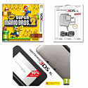 Nintendo 3DS XL Silver with New Super Mario Bros 2 and 3DS XL Adaptor 3DS