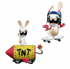 Rabbids Die Cast Vehicle Twin Pack - Pull Back TNT Rabbit and Skate Board Rabbit Toys and Gadgets