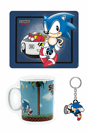 Sonic the Hedgehog Mousepad + Green Hill Mug + Sonic Running Keychain Toys and Gadgets
