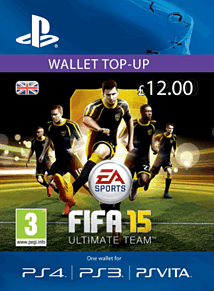 FIFA 15 Ultimate Team Wallet £12 Top Up PlayStation Network Cover Art