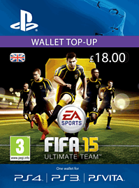 FIFA 15 Ultimate Team Wallet £18 Top Up PlayStation Network Cover Art