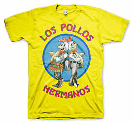 Official Breaking Bad Los Pollos Hermanos Large Yellow T-shirt Clothing and Merchandise