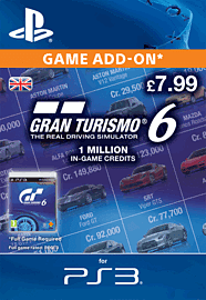 Gran Turismo 6: 1 Million In-Game Credits PlayStation Network Cover Art