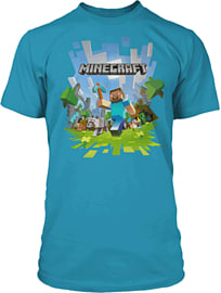 Minecraft Adventure T-Shirt - Turquoise (Ages 9-10) Clothing and Merchandise