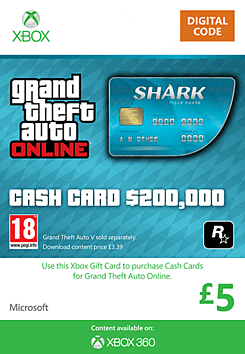 GTA Online Tiger Shark Cash Card - $200,000 (Xbox 360) Xbox Live Cover Art