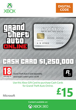 GTA Online Great White Shark Cash Card - $1,250,000 (Xbox 360) Xbox Live Cover Art