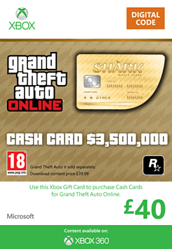 GTA Online Whale Shark Cash Card - $3,500,000 (Xbox 360) Xbox Live Cover Art