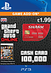 GTA Online Red Shark Cash Card - $100,000 (PS3) PlayStation Network
