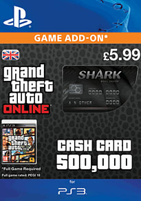 GTA Online Bull Shark Cash Card - $500,000 (PS3) PlayStation Network Cover Art