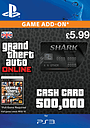 GTA Online Bull Shark Cash Card - $500,000 PlayStation Network