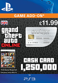 GTA Online Great White Shark Cash Card - $1,250,000 (PS3) PlayStation Network Cover Art