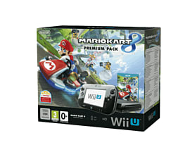 Black Wii U Premium with Mario Kart 8 Wii U Cover Art