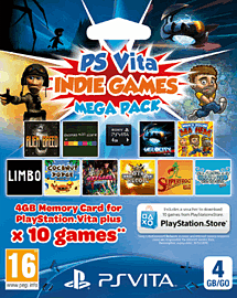 PS Vita 4GB Memory Card with Indie Mega Pack Accessories Cover Art