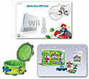 White Nintendo Wii Console with Mario Kart and Wheel and Skylanders SWAP Force Starter Pack and SWAP Force Element Storage Case Wii
