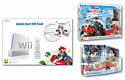 White Nintendo Wii Console with Mario Kart and Wheel and Disney Infinity Starter Pack and Disney Infinity Wreck it Ralph Box Set Wii