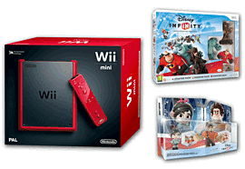 Red Nintendo Wii Mini Console and Disney Infinity Starter Pack and Disney Infinity Wreck it Ralph Box Set Wii