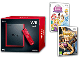 Red Nintendo Wii Mini Console and Disney Princess Fairytale Adventure and Disney's Tangled Wii